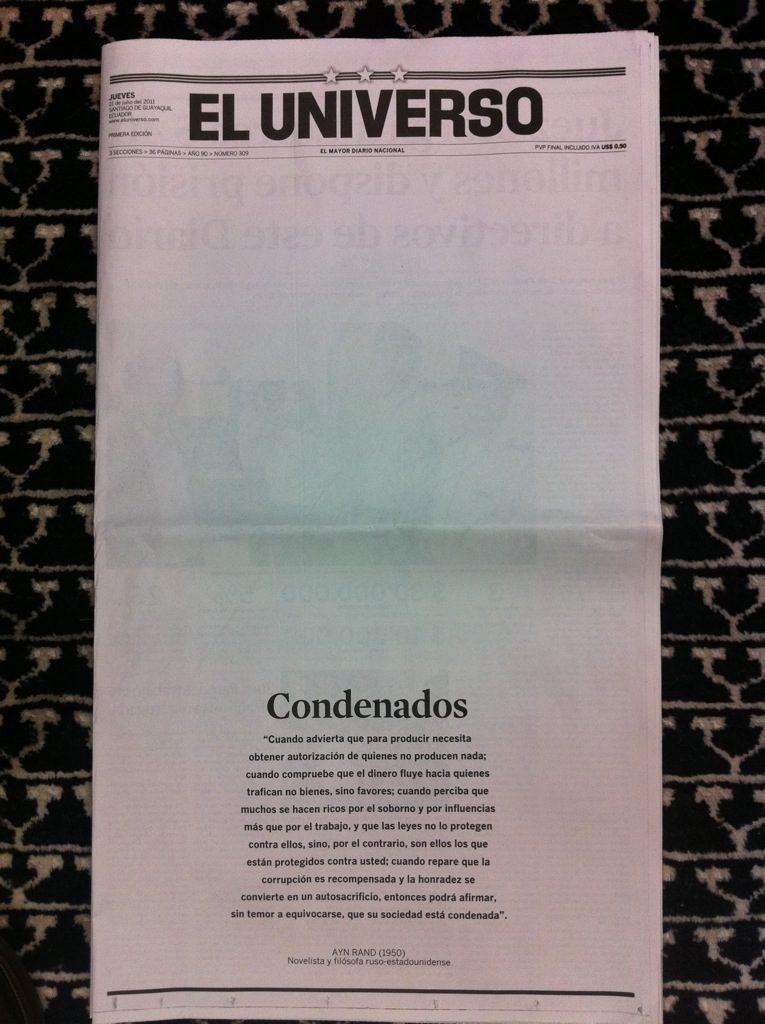 Rechazamos sentencia contra Diario El Universo