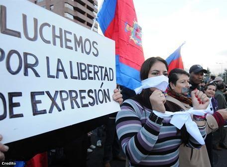 Protestas en la Shyris por la libertad de expresión