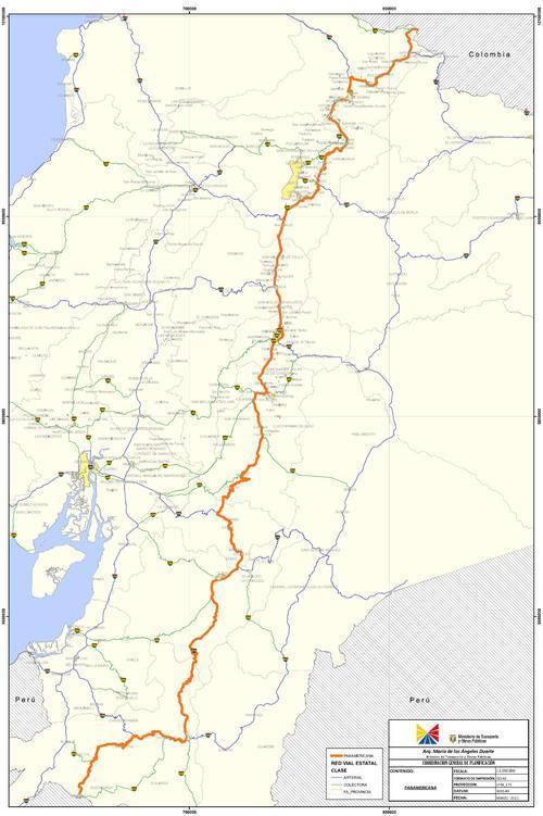 mapa vias ecuador