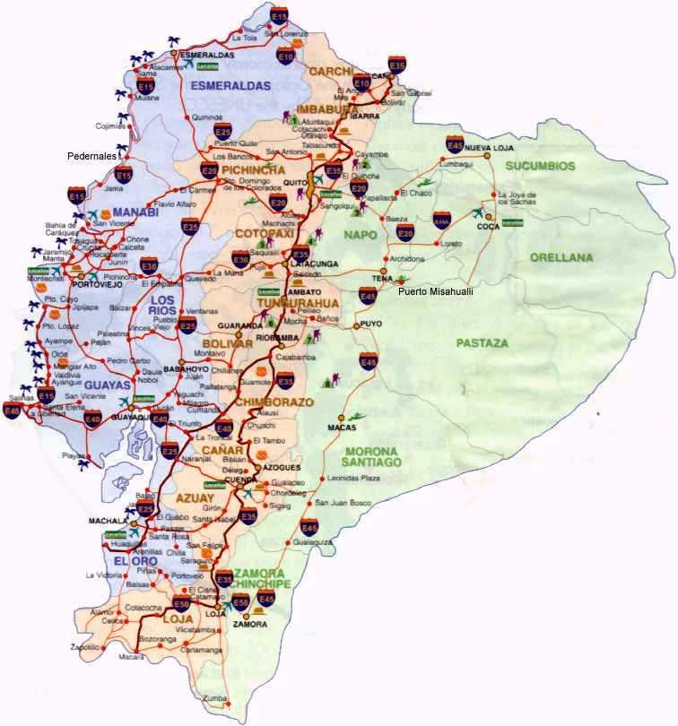 mapas ecuador vias