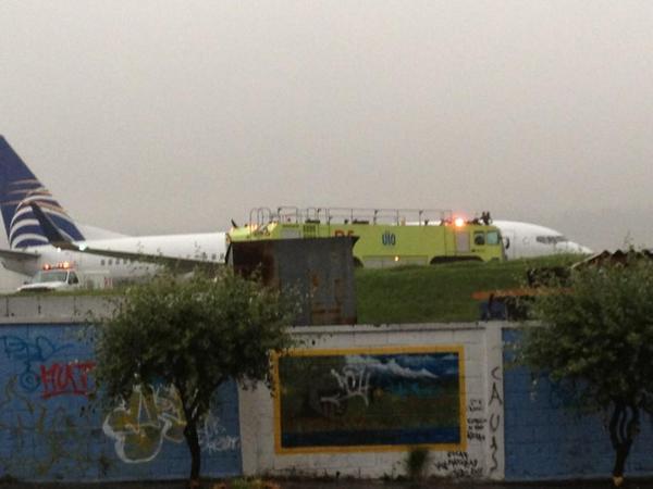 avión de Copa perdió pista en el aeropuerto de Quito