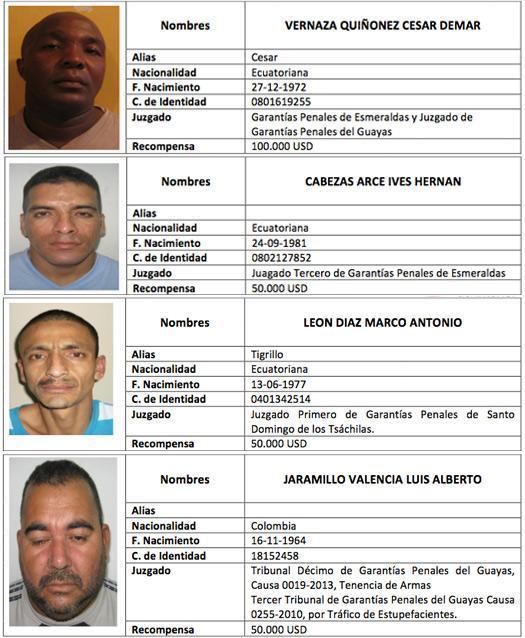 reos profugos de la cárcel de Guayaquil
