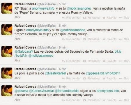 cuenta de twitter de Rafael Correa fue hackeada