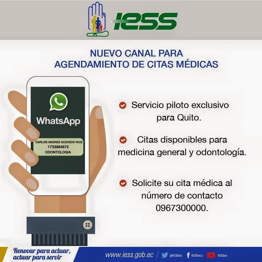 agendamiento citas medicas iess por whatsapp