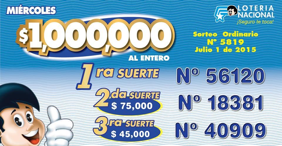numeros ganadores loteria nacional sorteo 5819