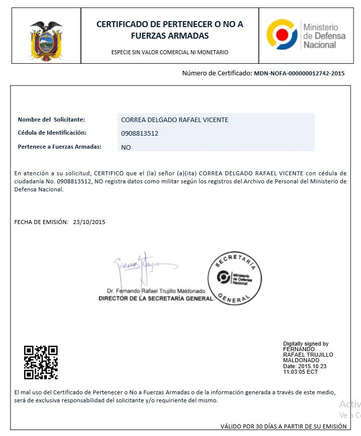 Certificado de NO haber sido dado de baja en las Fuerzas Armadas online