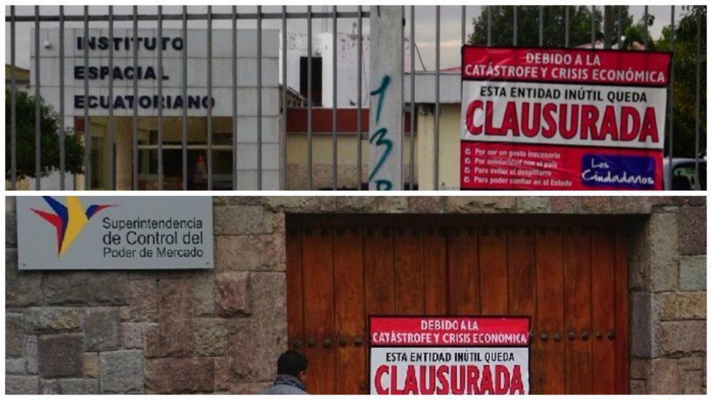 clausura varias entidades publicas en Ecuador
