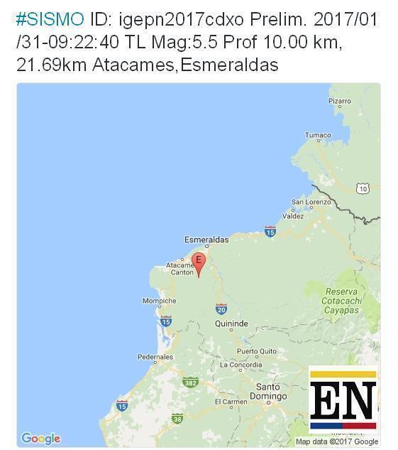 temblor atacames hoy 31 enero 2017