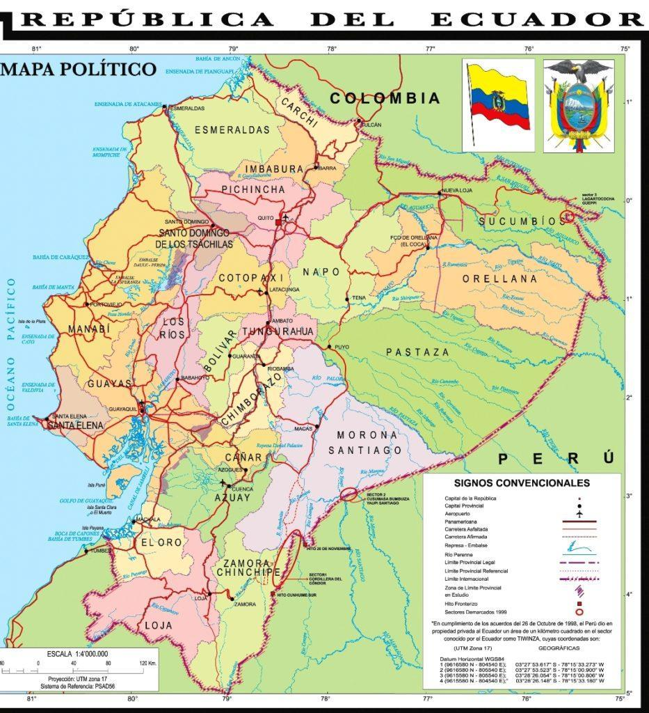 mapa provincias ecuador