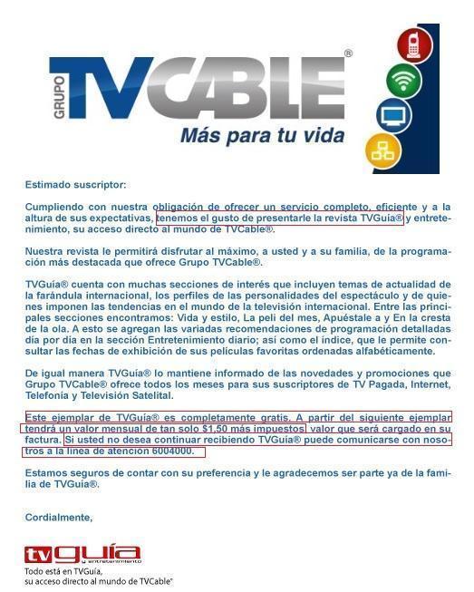Tv Cable Cobrar 225 A Clientes Por Revista No Solicitada