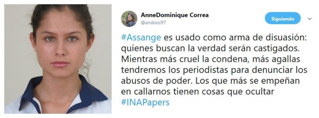 Anne.Dominique Correa defiende a Julian Assange