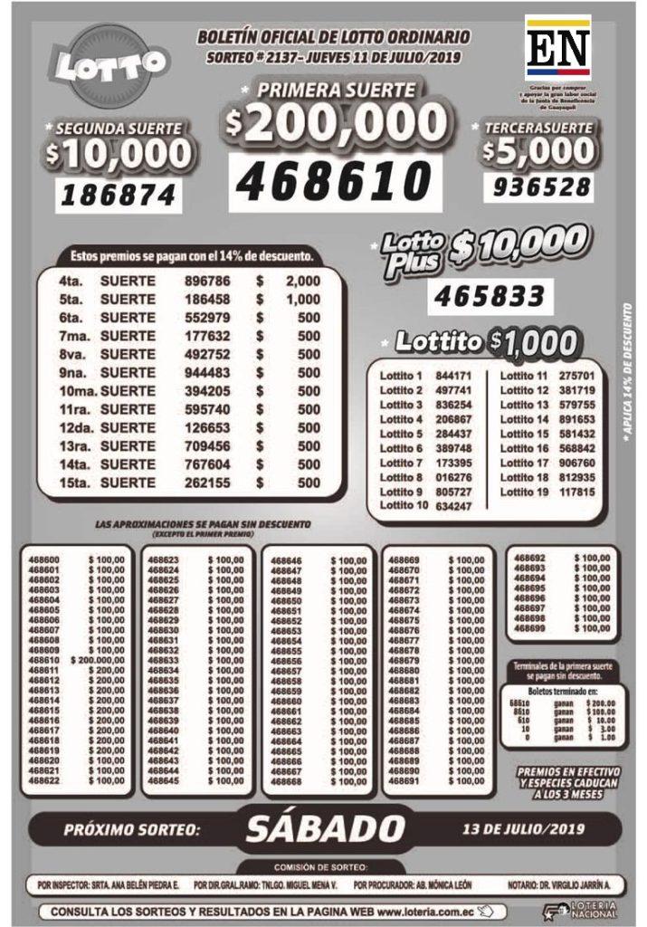 Resultados Lotto Sorteo 2137