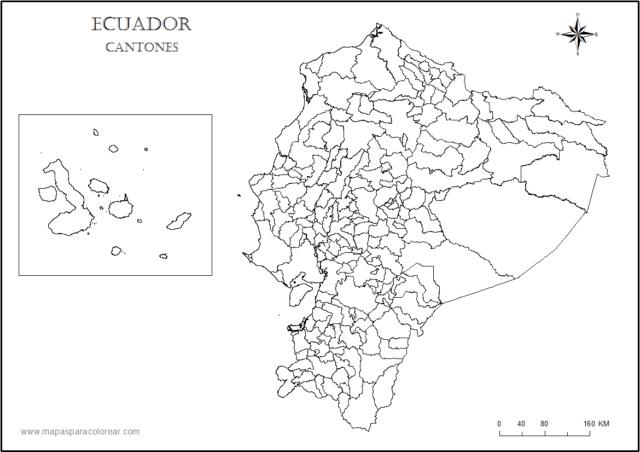mapa ecuador colorear