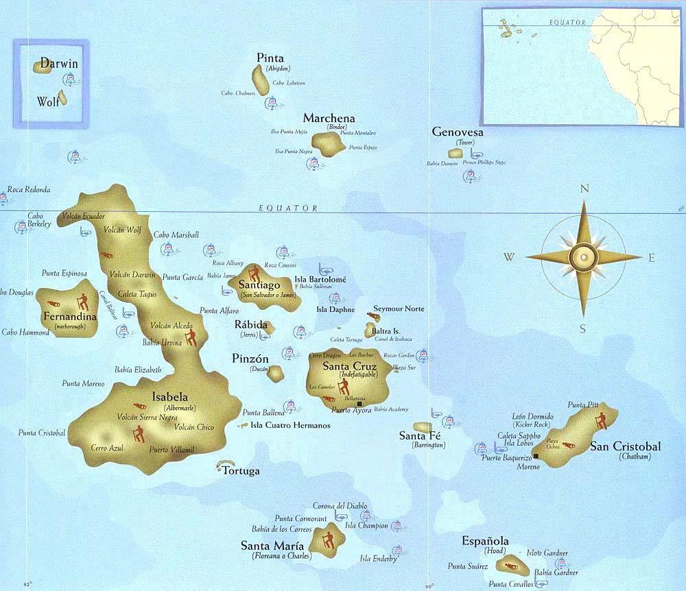 mapa rgiones ecuador galapagos