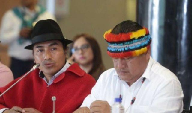 Leonidas Iza y Jaime Vargas en la Asamblea Nacional