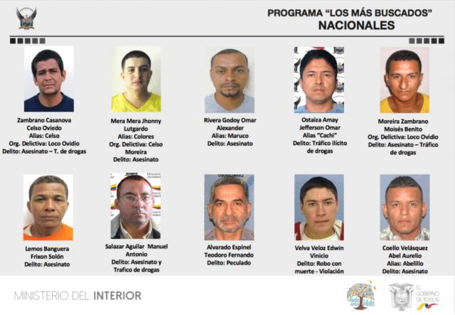 los 10 mas buscados de Ecuador