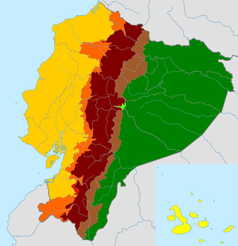 mapa del ecuador y sus regiones naturales
