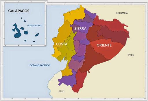 mapa regiones ecuador