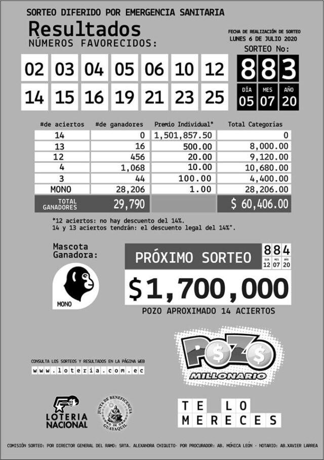 sorteo 883 pozo millonario
