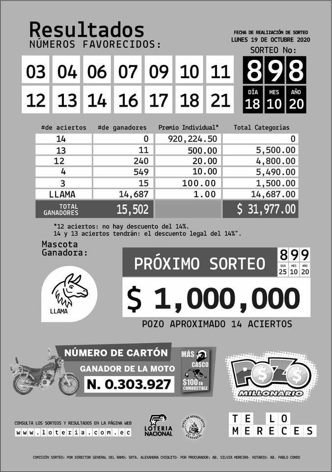 sorteo 898 pozo millonario resultados