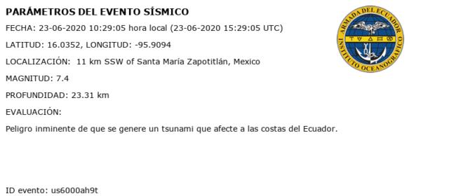 tsunami en ecuador